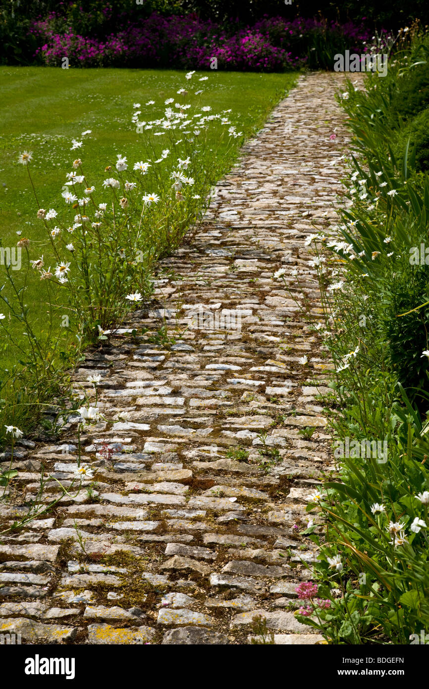 English garden path with flower and lawn boarder, Oxfordshire, England - Stock Image