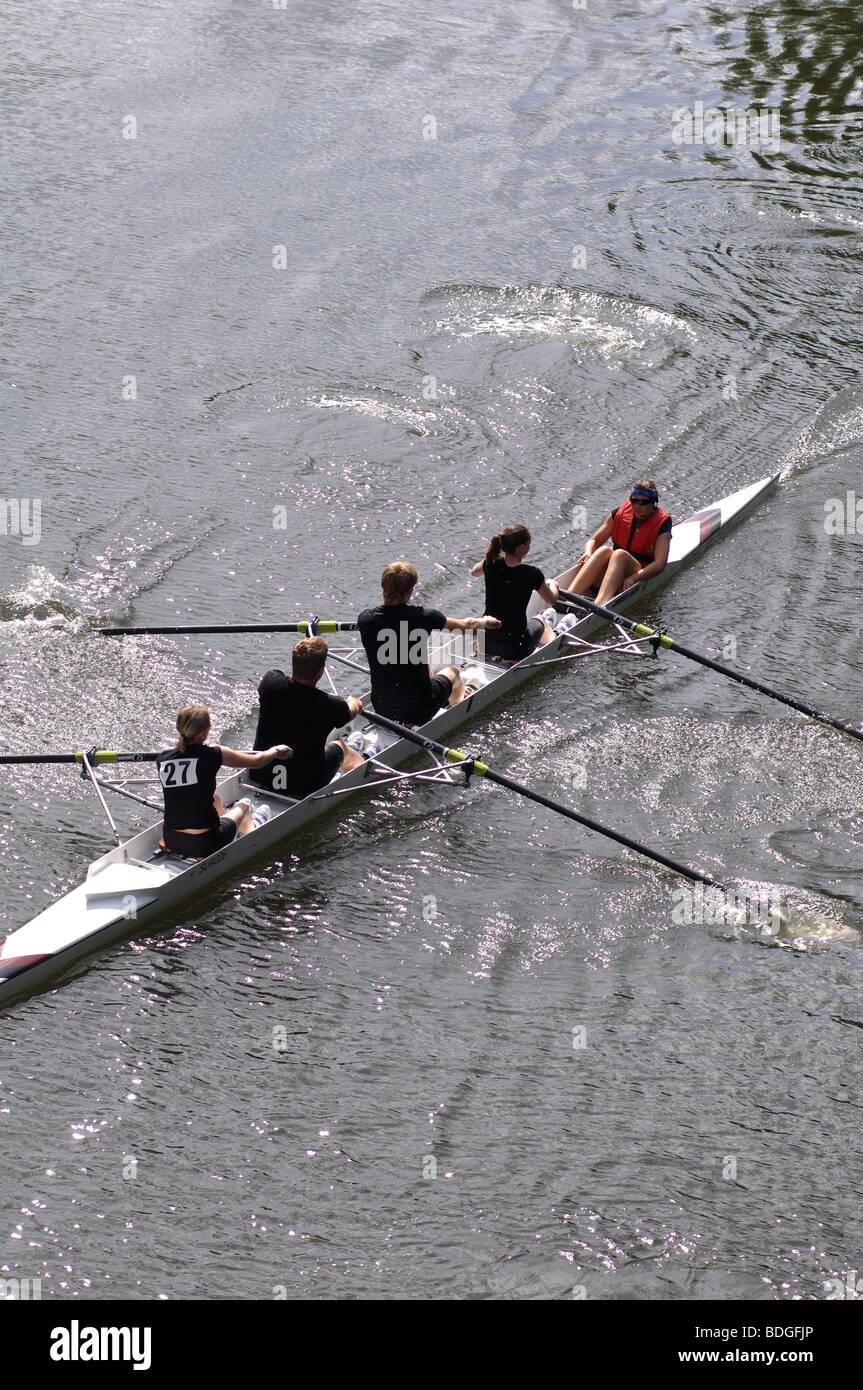 Rowing on River Avon at Warwick Regatta, Warwickshire, England, UK - Stock Image