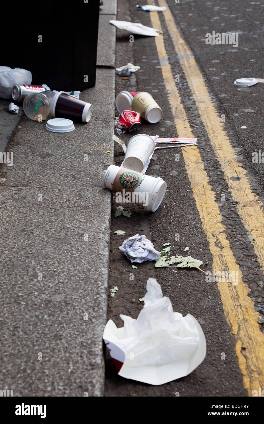 Litter on the street. - Stock Image