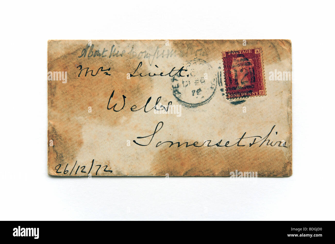 An original envelope dated 1872 with postmark and penny red stamp. - Stock Image