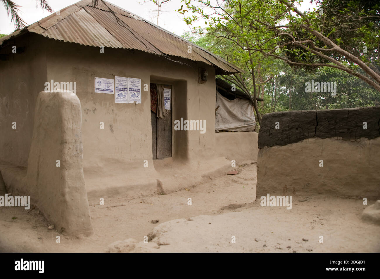 A Mud Building With Sheet Metal Roof In Bangladesh Stock