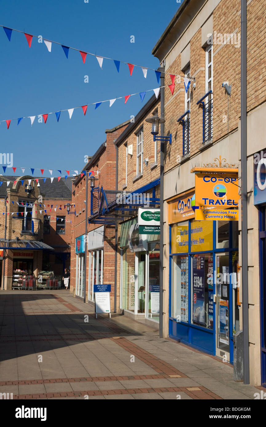 Empty shopping precinct in the maket town of Market Harborough, Leicestershire, England - Stock Image