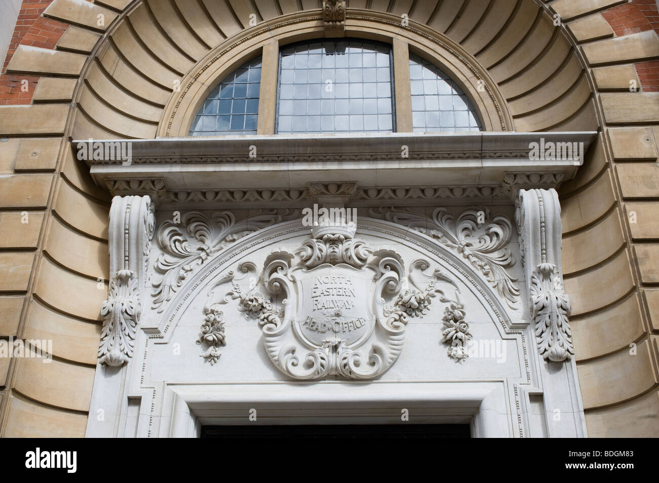 Entrance to the old North Eastern Railway head office in the city of York, England - Stock Image