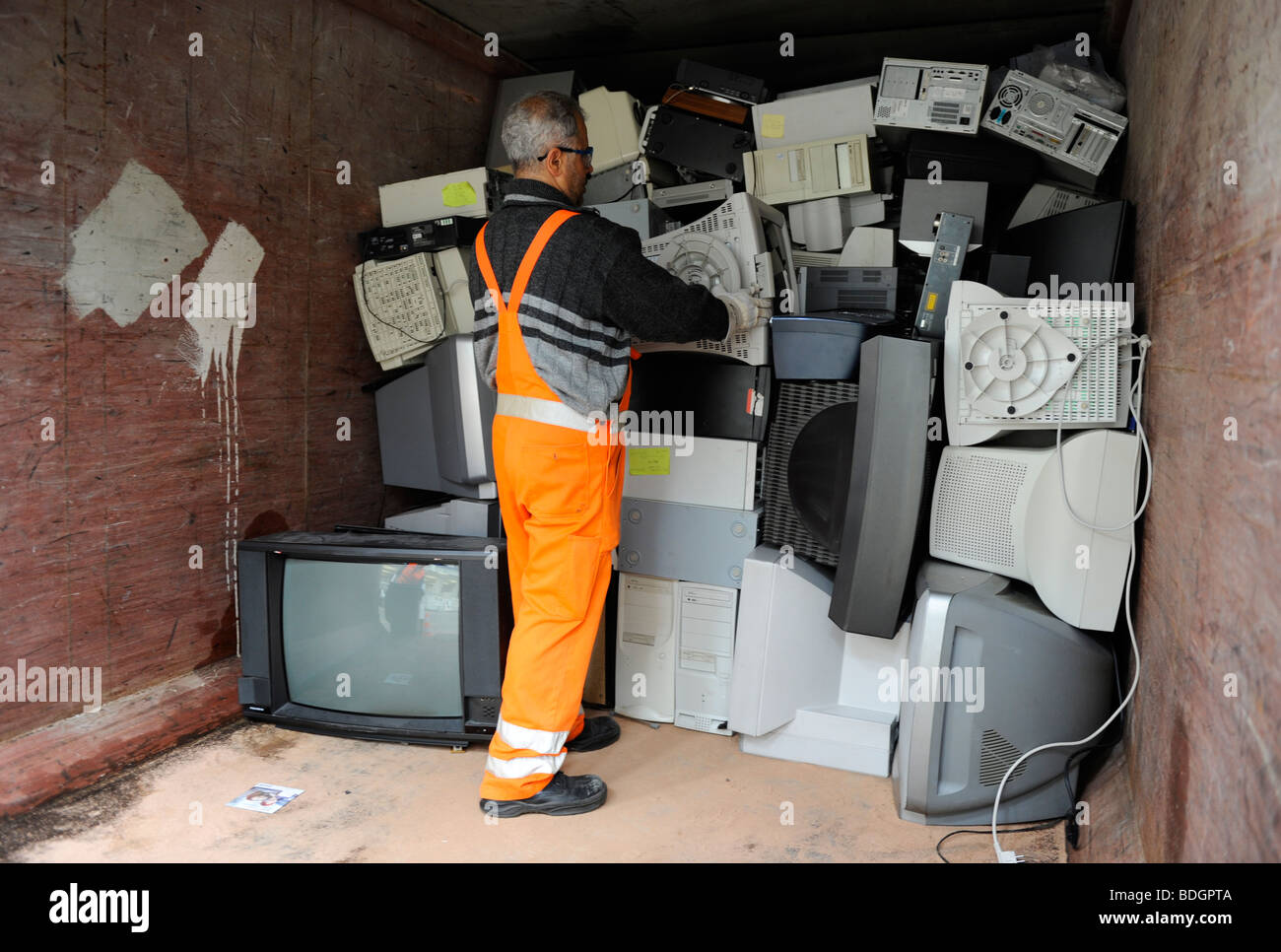 Electronic Scrap Old Computer Monitors Stock Photos Electronics Recycling Pictures Zimbio Germany Hamburg Collection And Of At Public Recycle Place Image