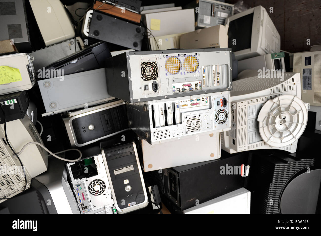 GERMANY HAMBURG collection and recycling of electronic scrap at public recycle collection place - Stock Image
