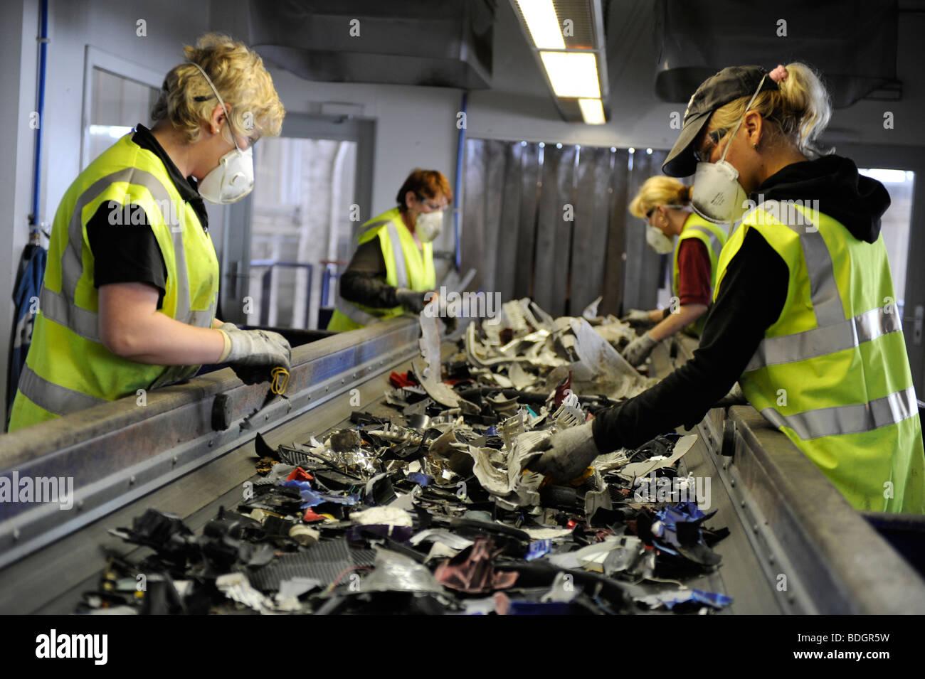GERMANY HAMBURG recycling of electronic scrap at electronic recycling company TCMG, not used electronic consumer - Stock Image