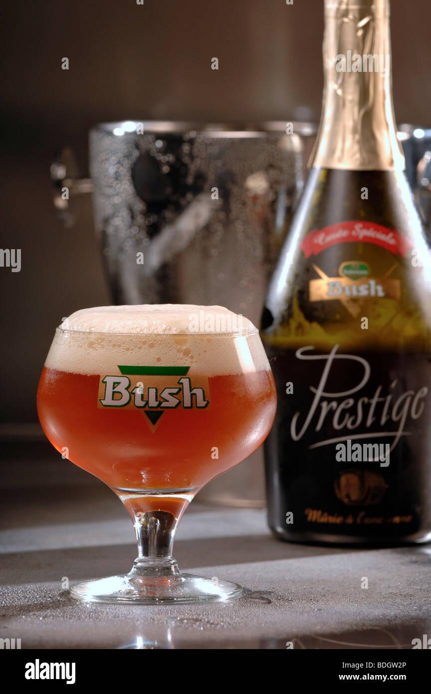 Glass of Bush Prestige Belgian beer. - Stock Image
