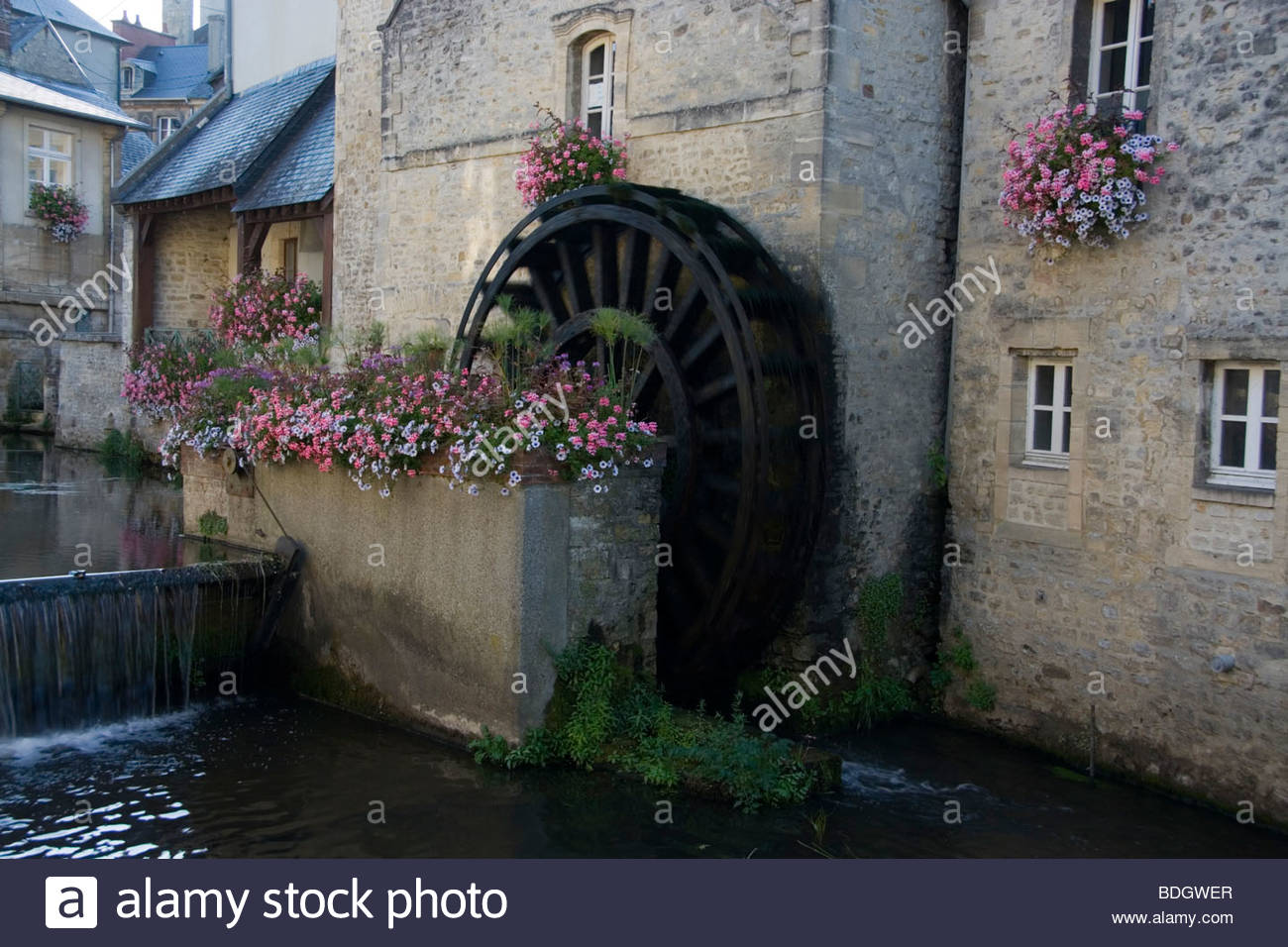 France Normandy Bayeux Water Wheel on River - Stock Image