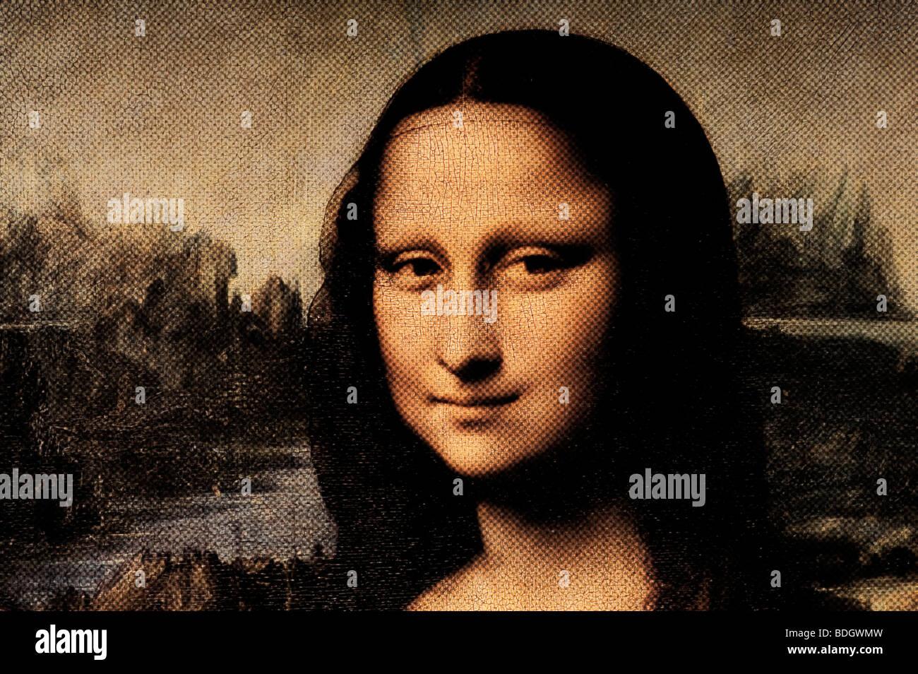 Portrait of Lisa del Giocondo (Mona Lisa) by Leonardo da Vinci halftone pattern - Stock Image