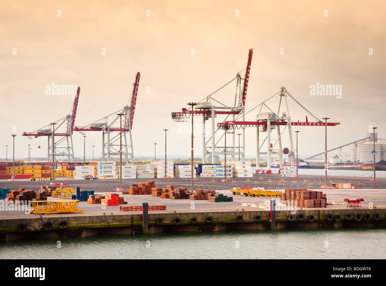 Cranes on the industrial port of Dunkirk, France, Europe - Stock Image