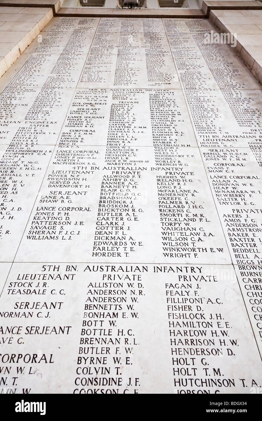 Walls bearing names of missing soldiers at the Menin Gate WW1 memorial at Ypres, Belgium, Europe - Stock Image