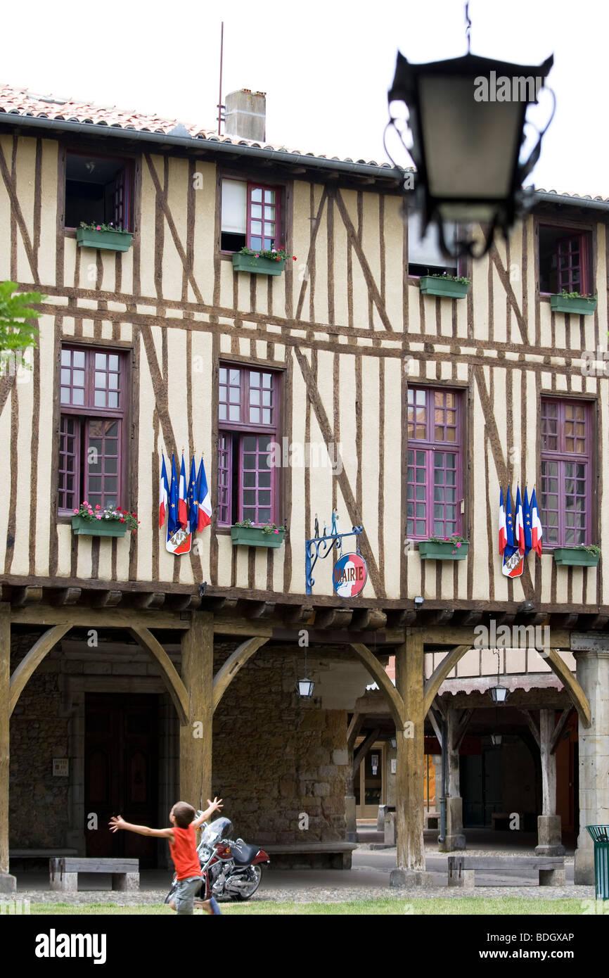 Hotel de Ville, Mirepoix Stock Photo