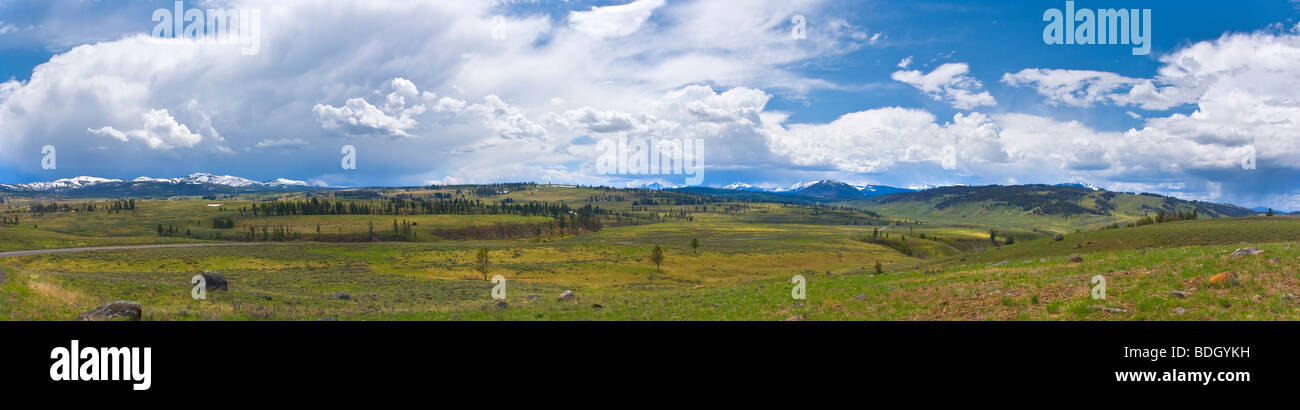 Panoramic of the northern section of Yellowstone National Park Wyoming USA - Stock Image