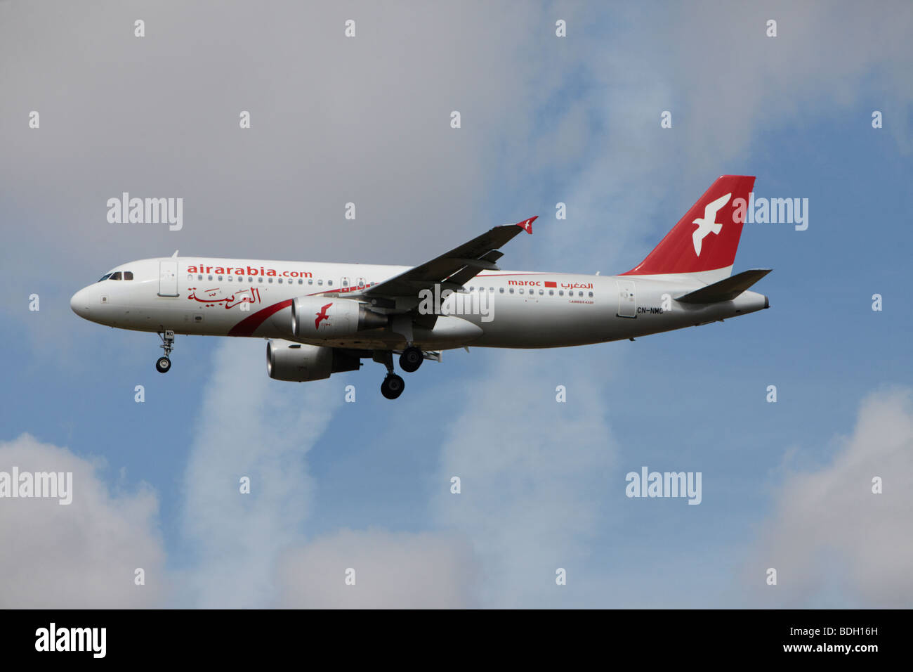 Air Arabia Maroc Airbus A320-214 on final approach at Stansted Airport, Essex, England, United Kingdom Stock Photo