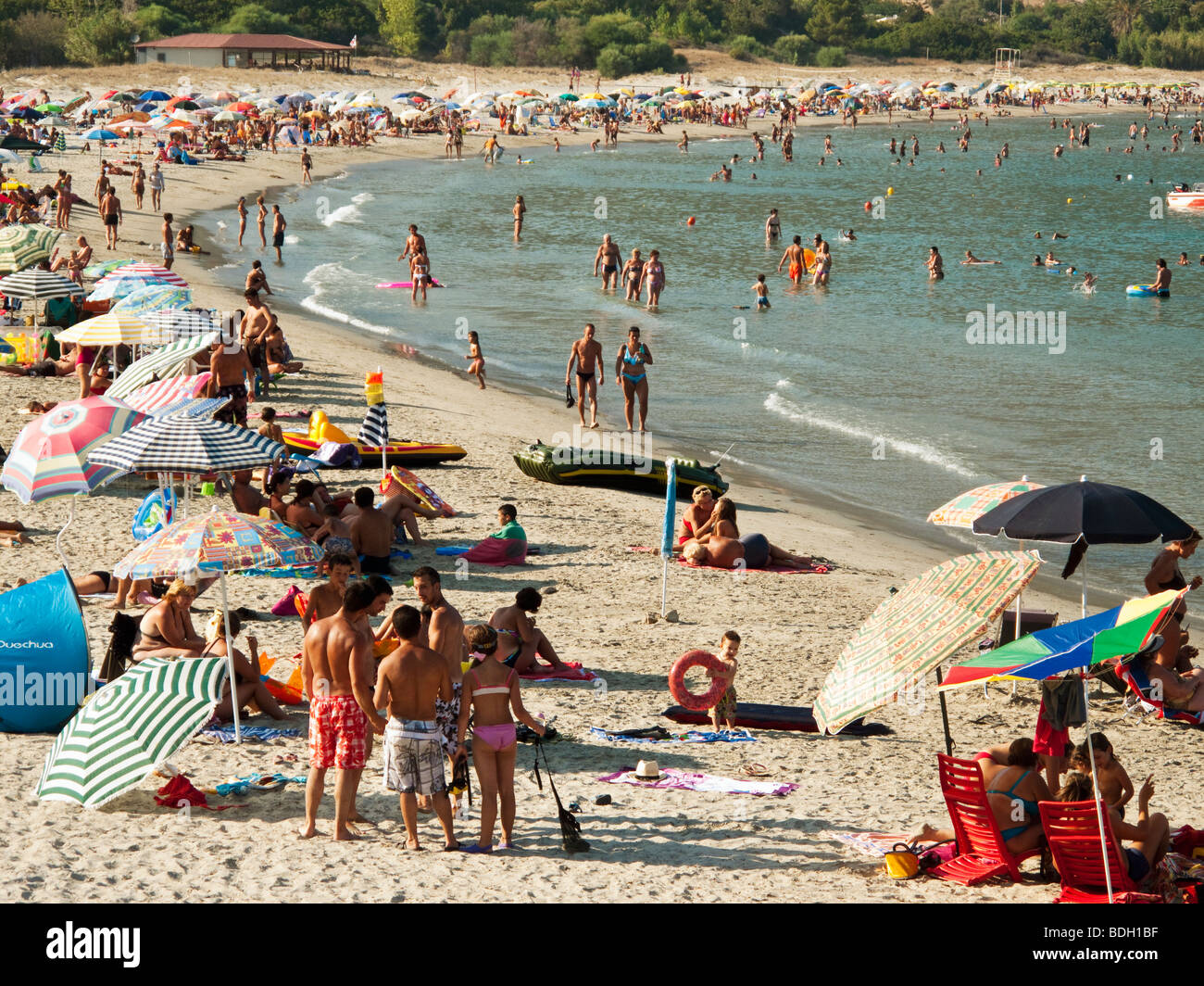 Holidaymakers on Tertenia Beach - Stock Image