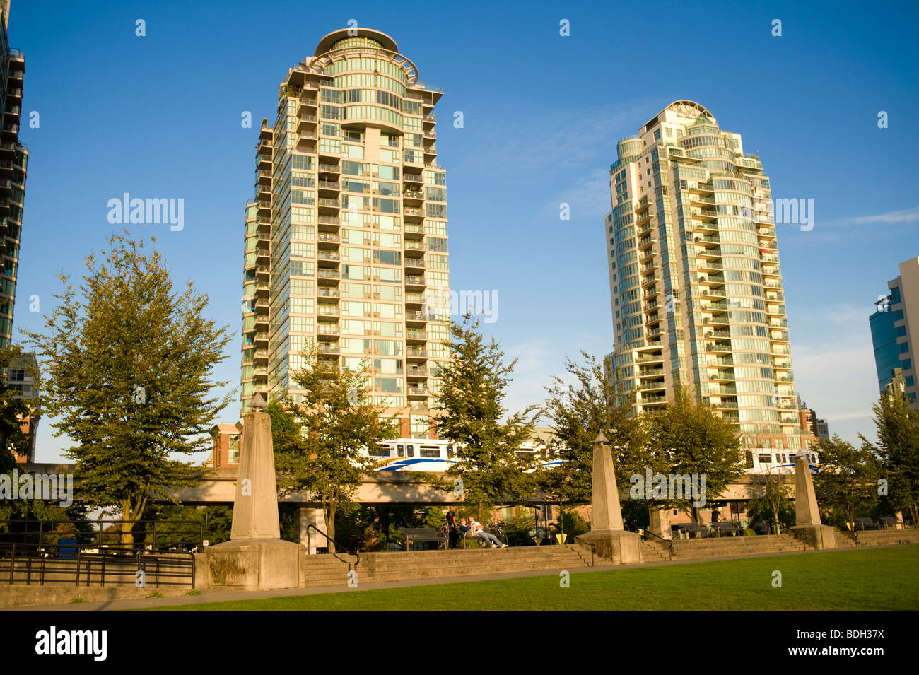 Vancouver Condominium Towers with the Skytrain in the foreground. Vancouver BC, Canada - Stock Image