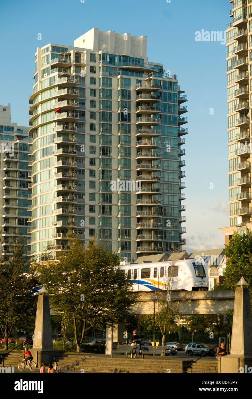 Vancouver Condominium Towers with the Skytrain in the foreground. Vancouver BC, Canada Stock Photo