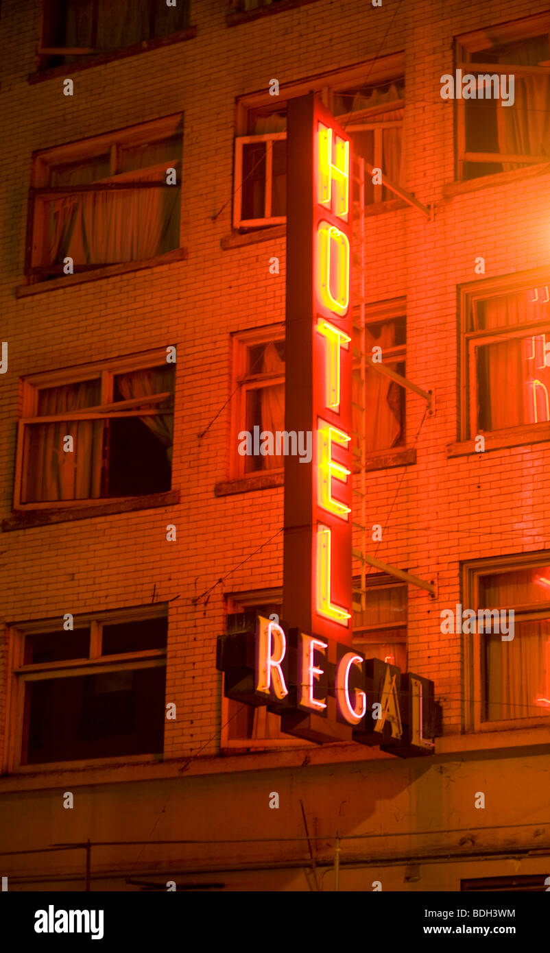 The Hotel Regal. Neon signs along Granville Street. Vancouver BC, Canada - Stock Image