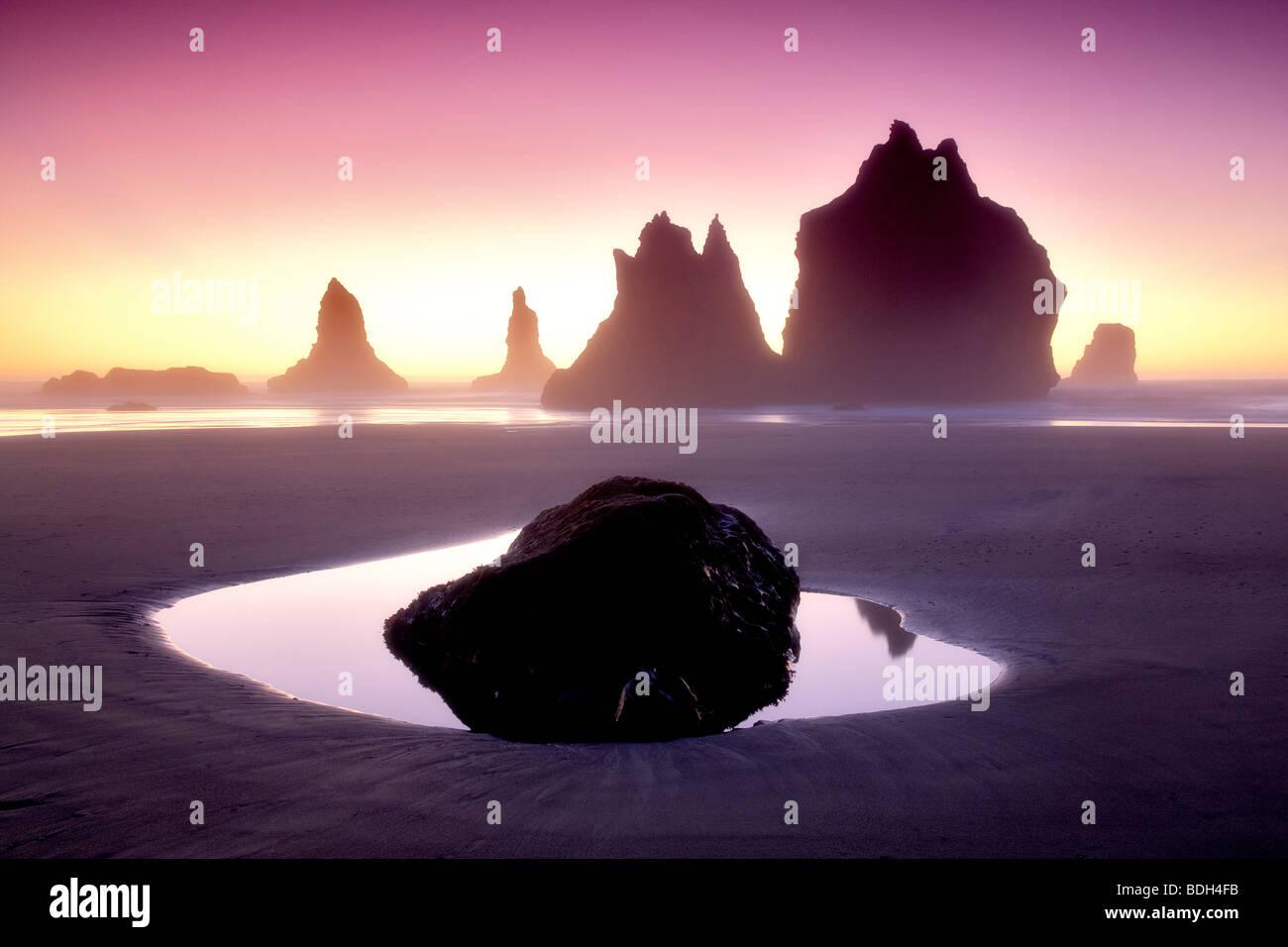 Monolith sea stacks reflecting pool and sunset. Samuel H. Boardman State Scenic Corridor. Oregon - Stock Image