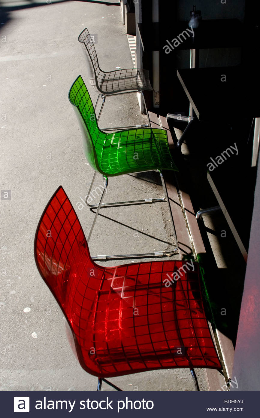 red, green, transparent, chair, chairs, wellington, New Zealand Stock Photo