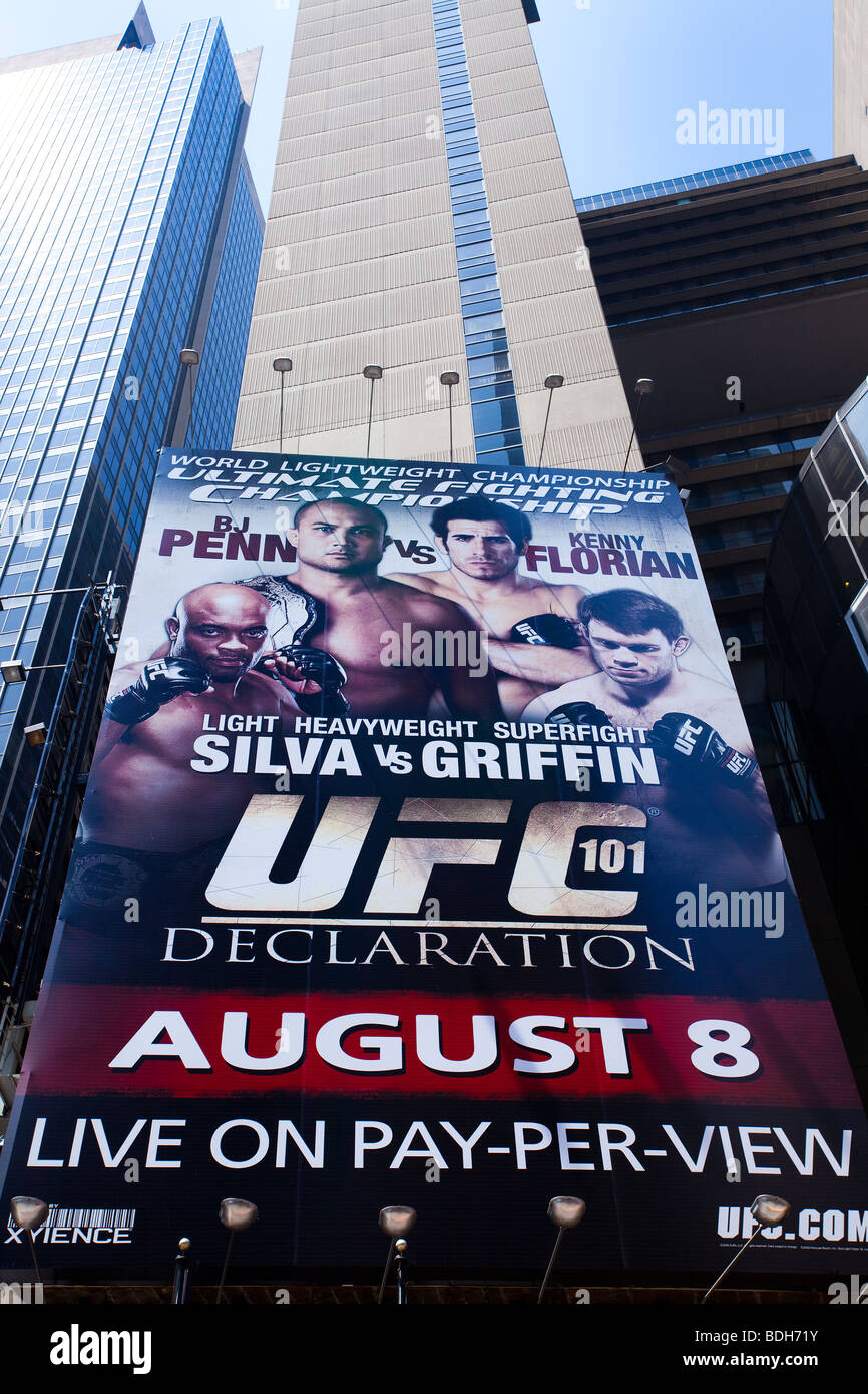 UFC promotional ad, Times Square, New York City, USA - Stock Image