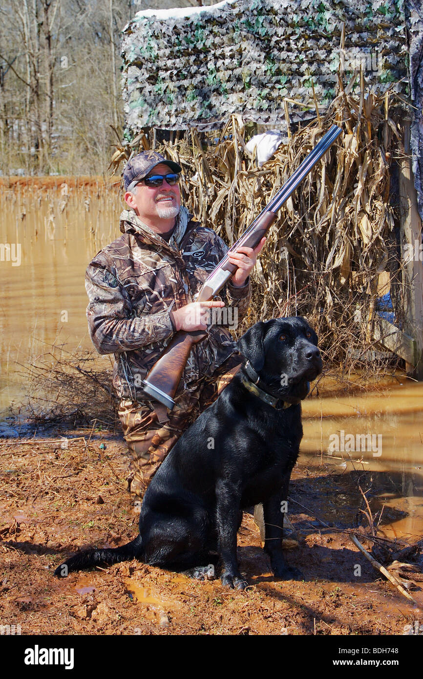kill stock photo enjoying up blind on browning hat ground in hunter close smiling blinds a snow duck camo recent