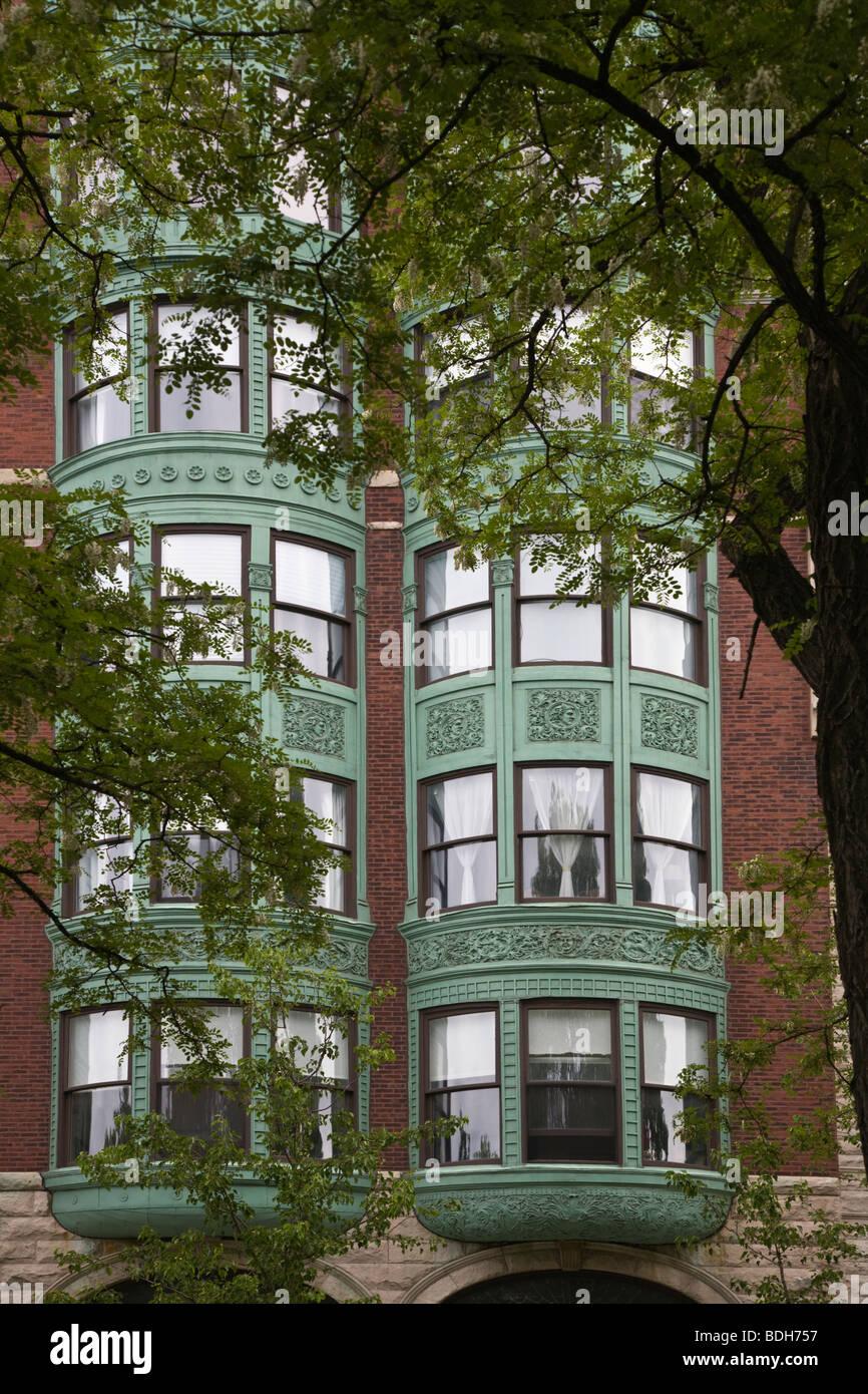 BAY WINDOWS in brick apartment buildings - BOSTON, MASSACHUSETTS - Stock Image