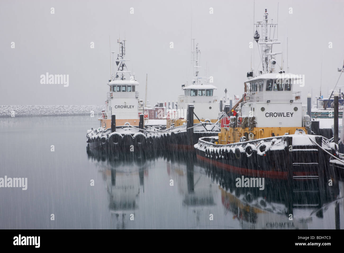 Crowley Tugs in the Seward Boat Harbor during a winter snow storm, Alaska. - Stock Image