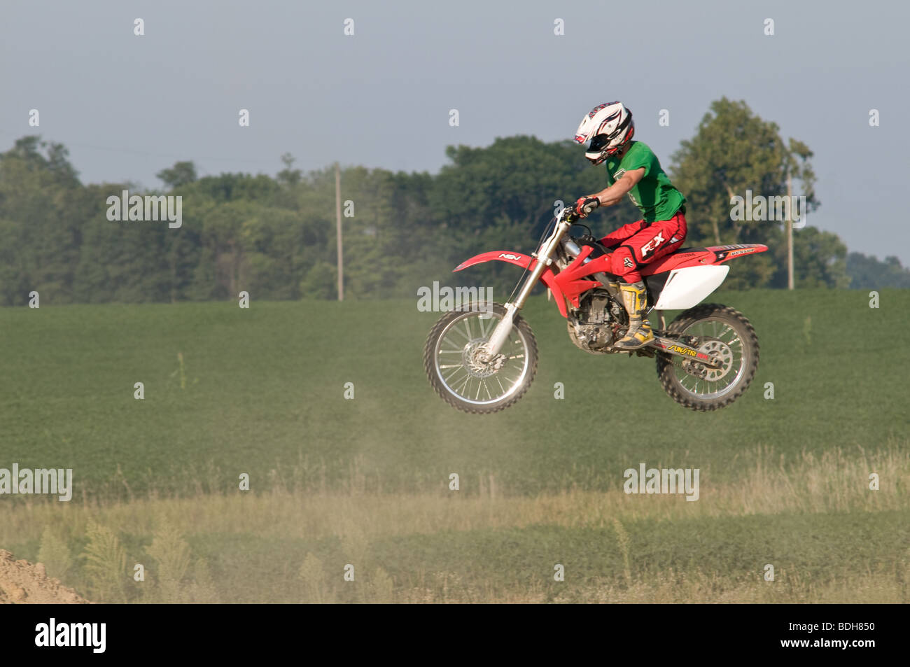 Dirt bike riding in Ohio USA - Stock Image