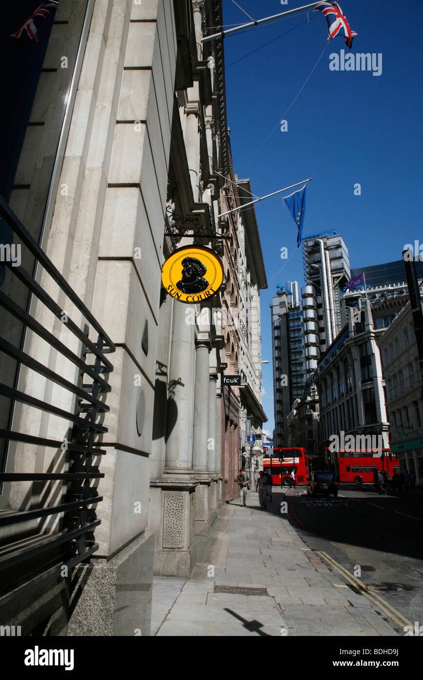 Looking up Cornhill to the Lloyds Building, City of London, UK - Stock Image