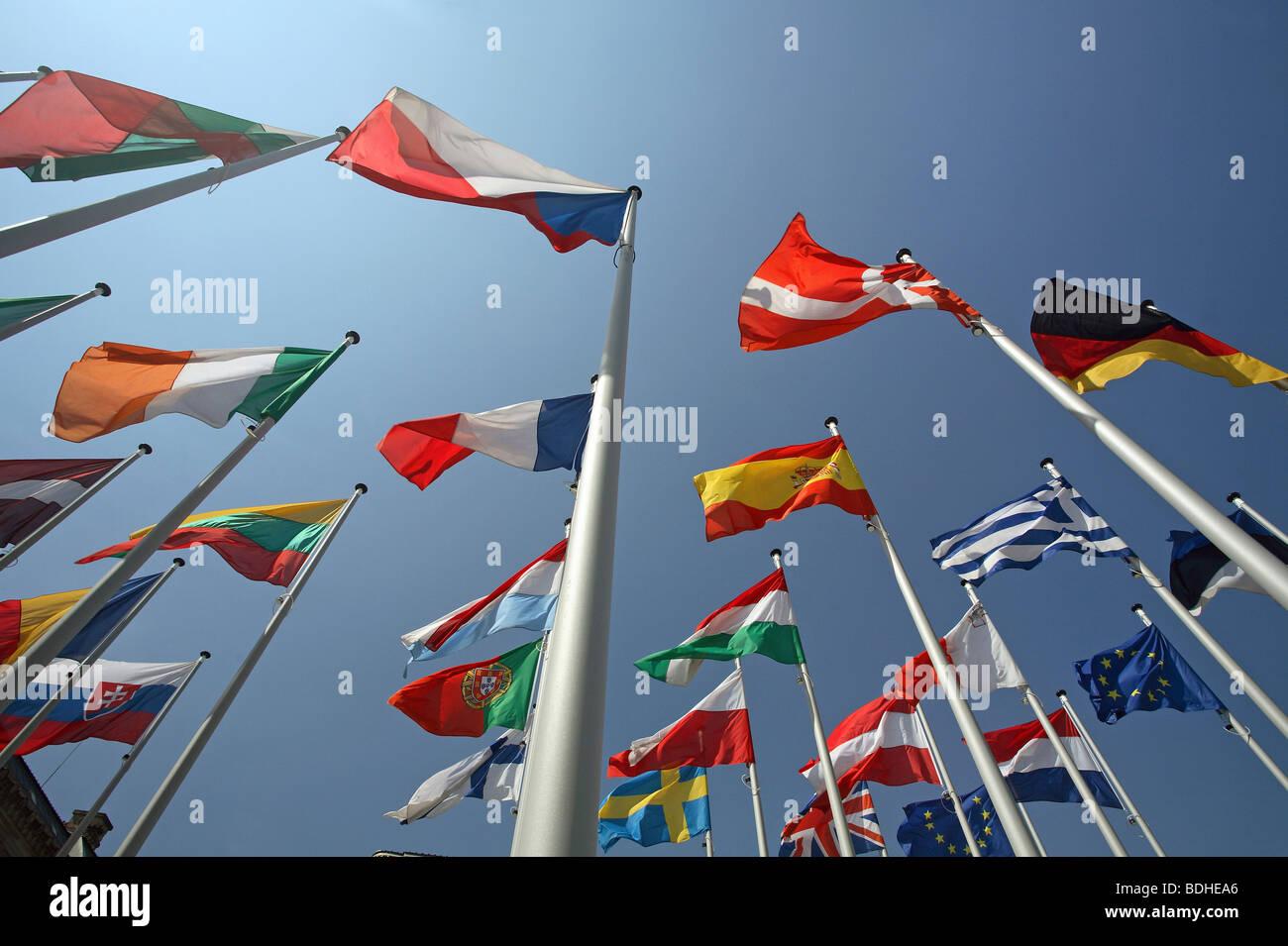 EU Member States flags Stock Photo