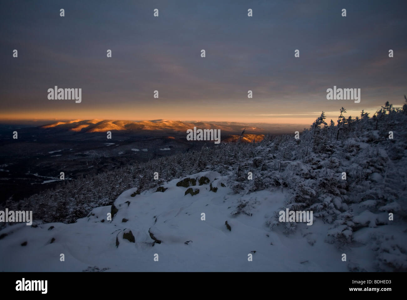 View of the North End of the Presidential Mountain Range in New Hampshire, at sunrise. - Stock Image