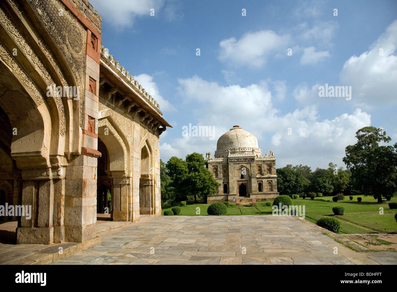 Sheesh gumbad viewed from the mosque adjacent to Bara gumbad, Lodi garden, New Delhi, India. - Stock Image