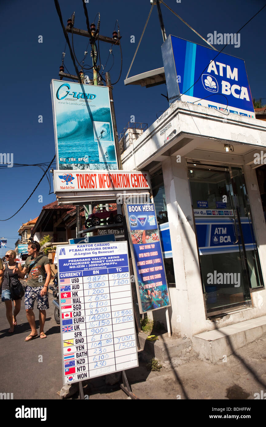 Indonesia, Bali , Kuta, Poppies Gang 2, ATM banking machine in tourist area - Stock Image