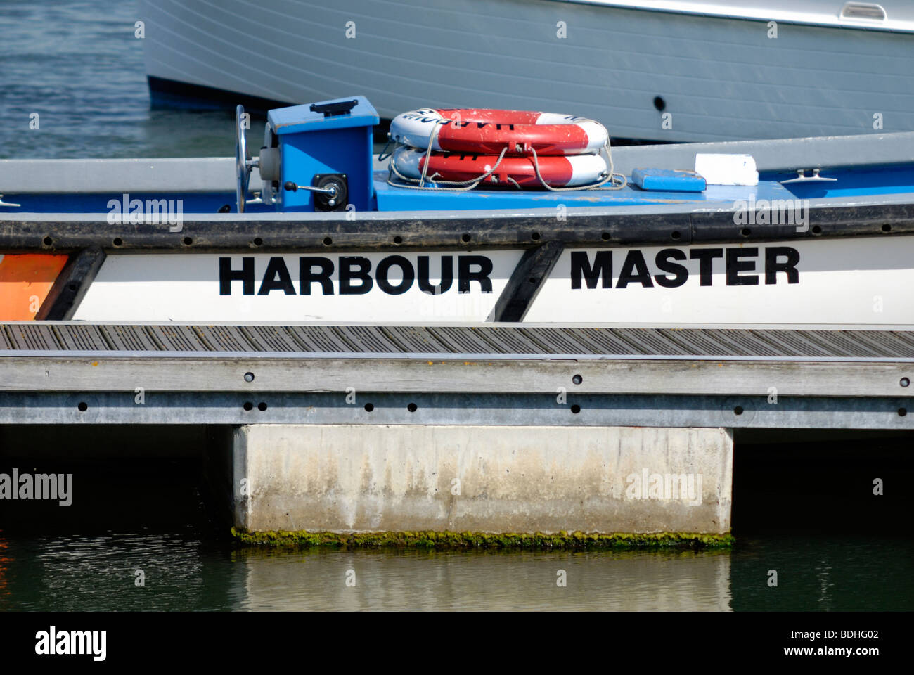 Close up  of a Harbour Masters boat - Stock Image