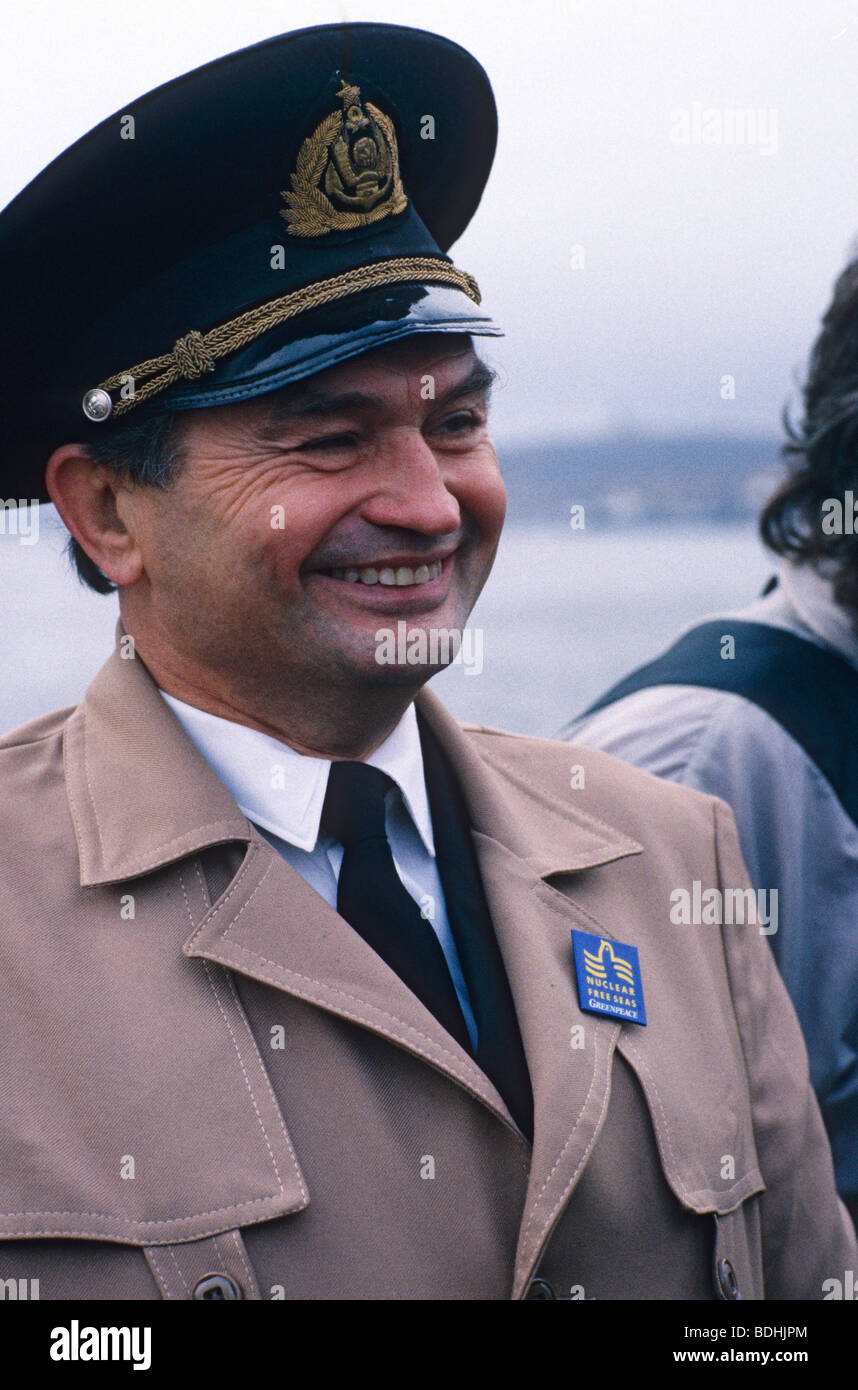 A Russian trawler captain in Murmansk sports a Greenpeace Nuclear Free Seas badge. - Stock Image