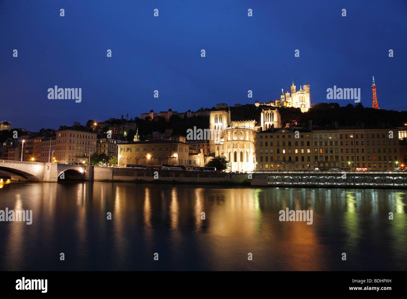 Soane River, Cathedrale St. Jean, Lyon, France - Stock Image