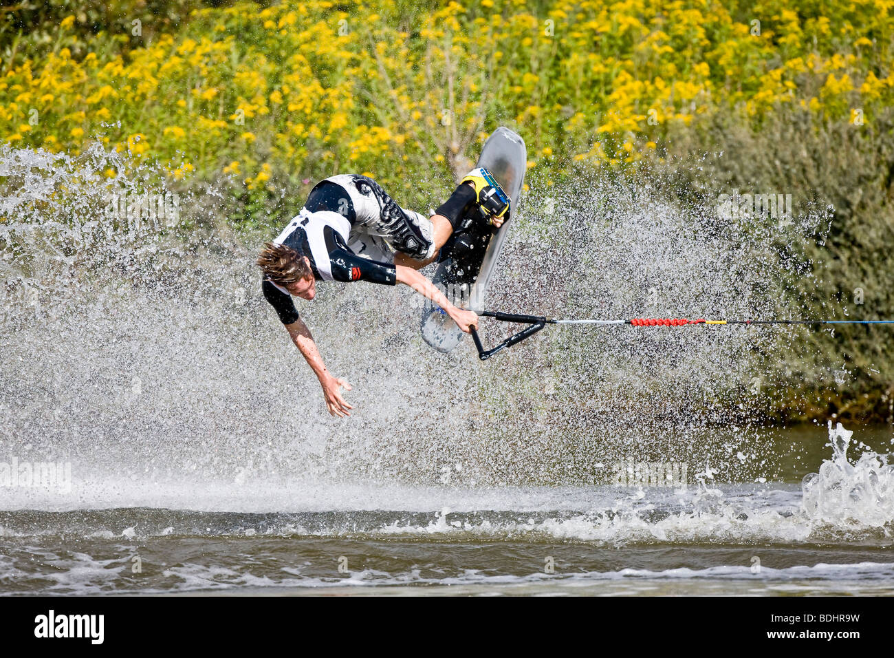 Young man doing waterski tricks at the EAME 2009 championship Stock Photo