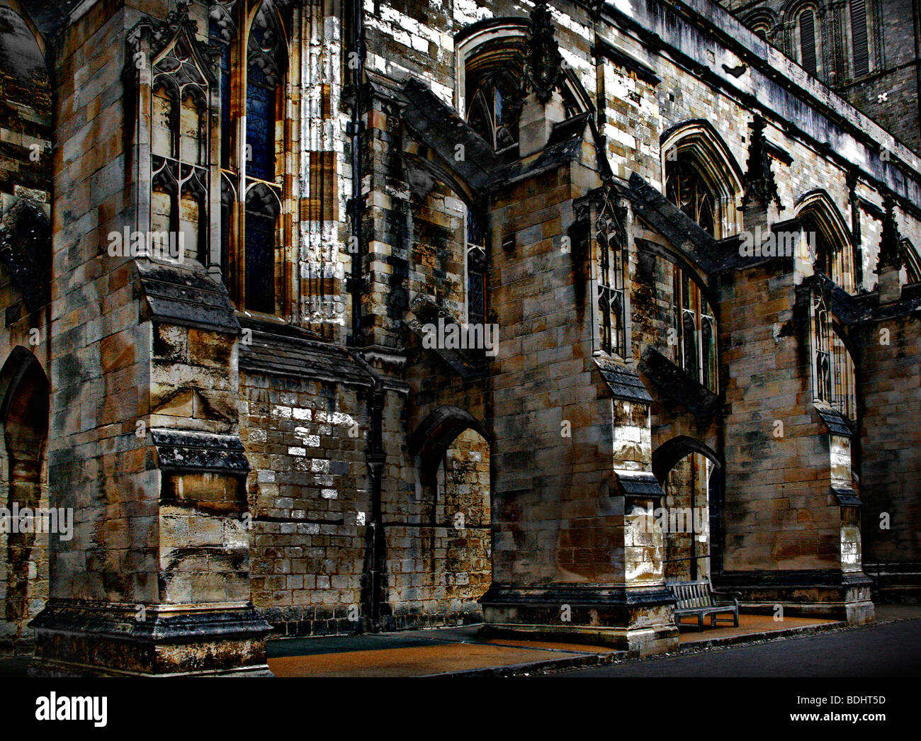 An atmospheric solarised view of Winchester Cathedral. - Stock Image