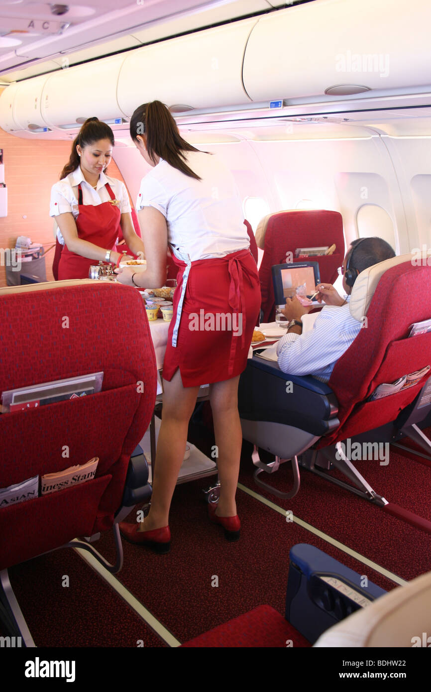 First class breakfast Kingfisher Airlines Plane - Stock Image