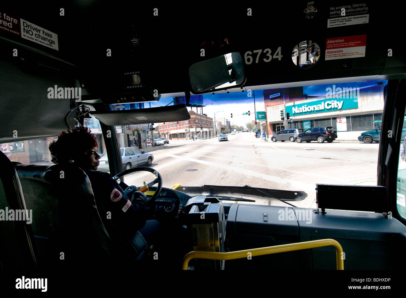 Chicago female bus driver - Stock Image