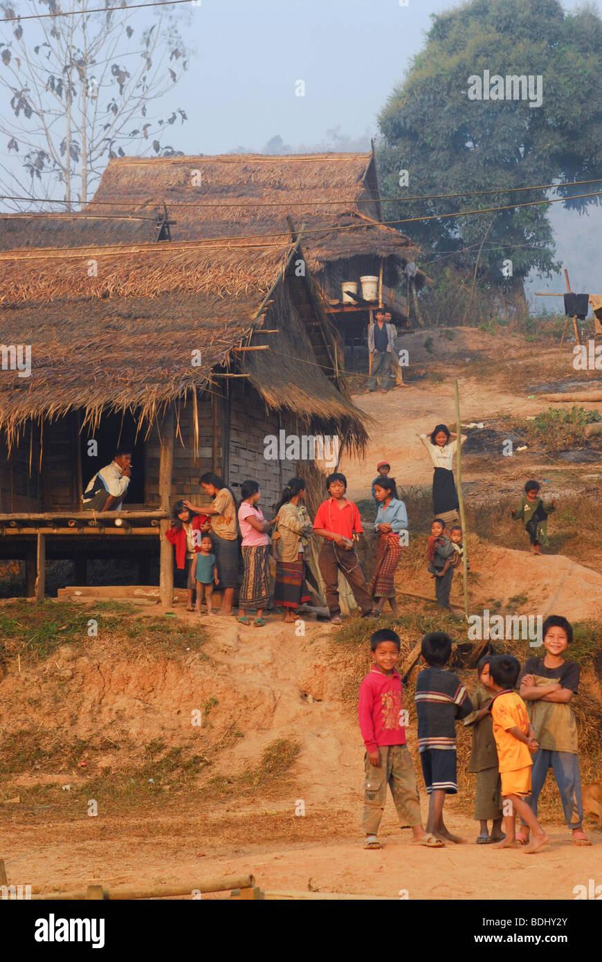 Hmong ethnic minority hill tribe village, Northern Laos - Stock Image