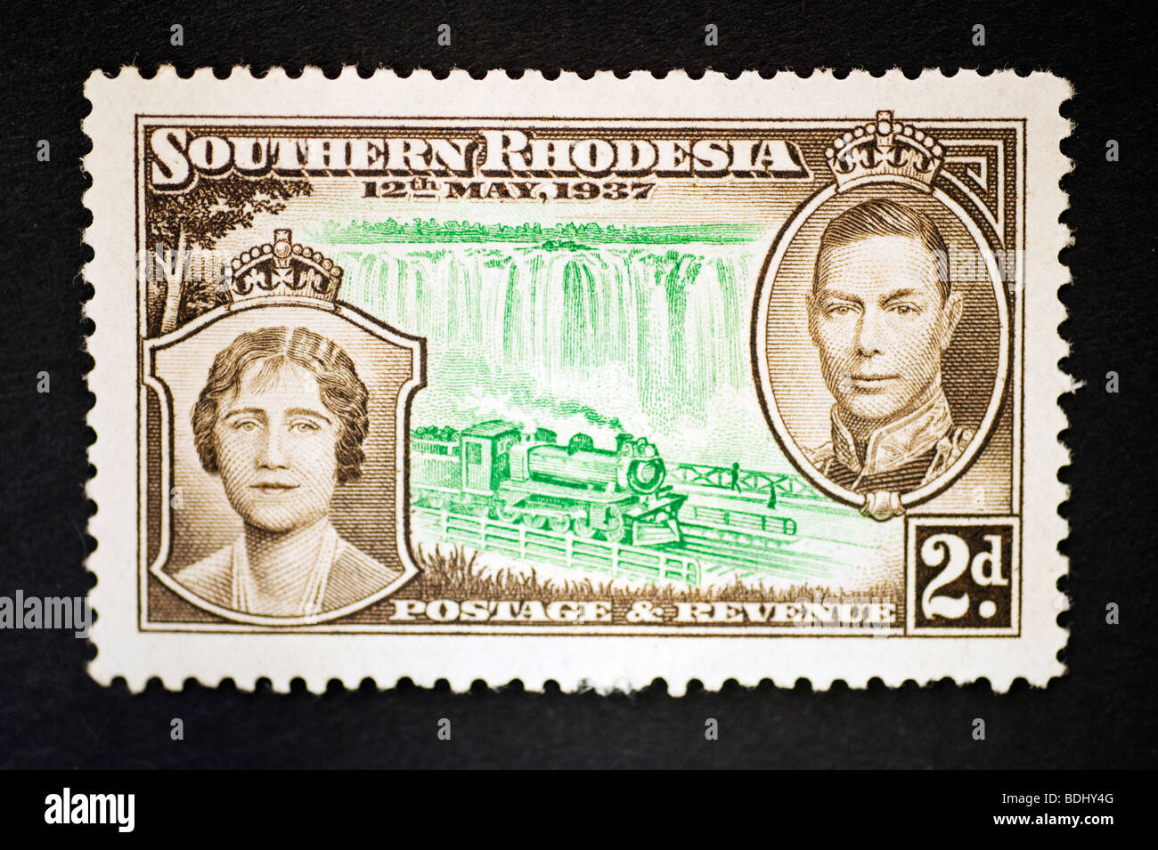 Postage stamp Southern Rhodesia Two Pence - Stock Image