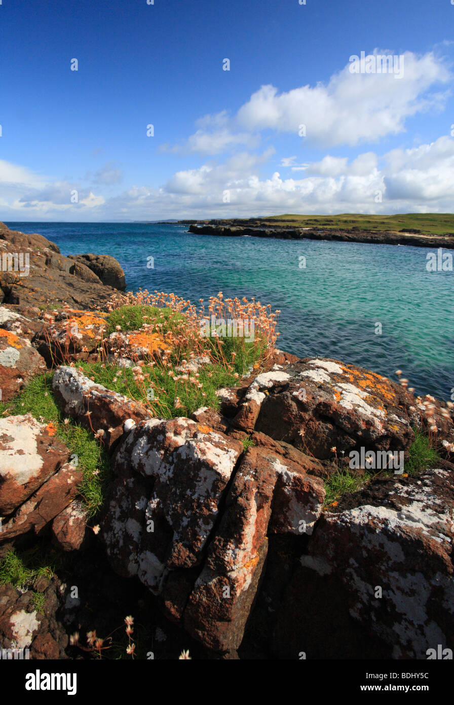 A view across the sea at Port Langamull, Isle of Mull, Scotland. - Stock Image