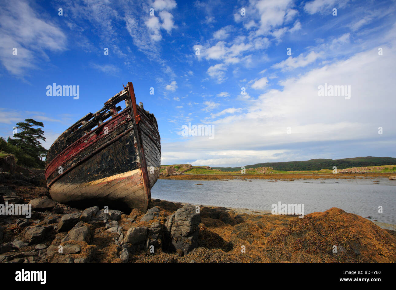An abandoned fishing boat at Croig on the Isle of Mull, near Dervaig. - Stock Image