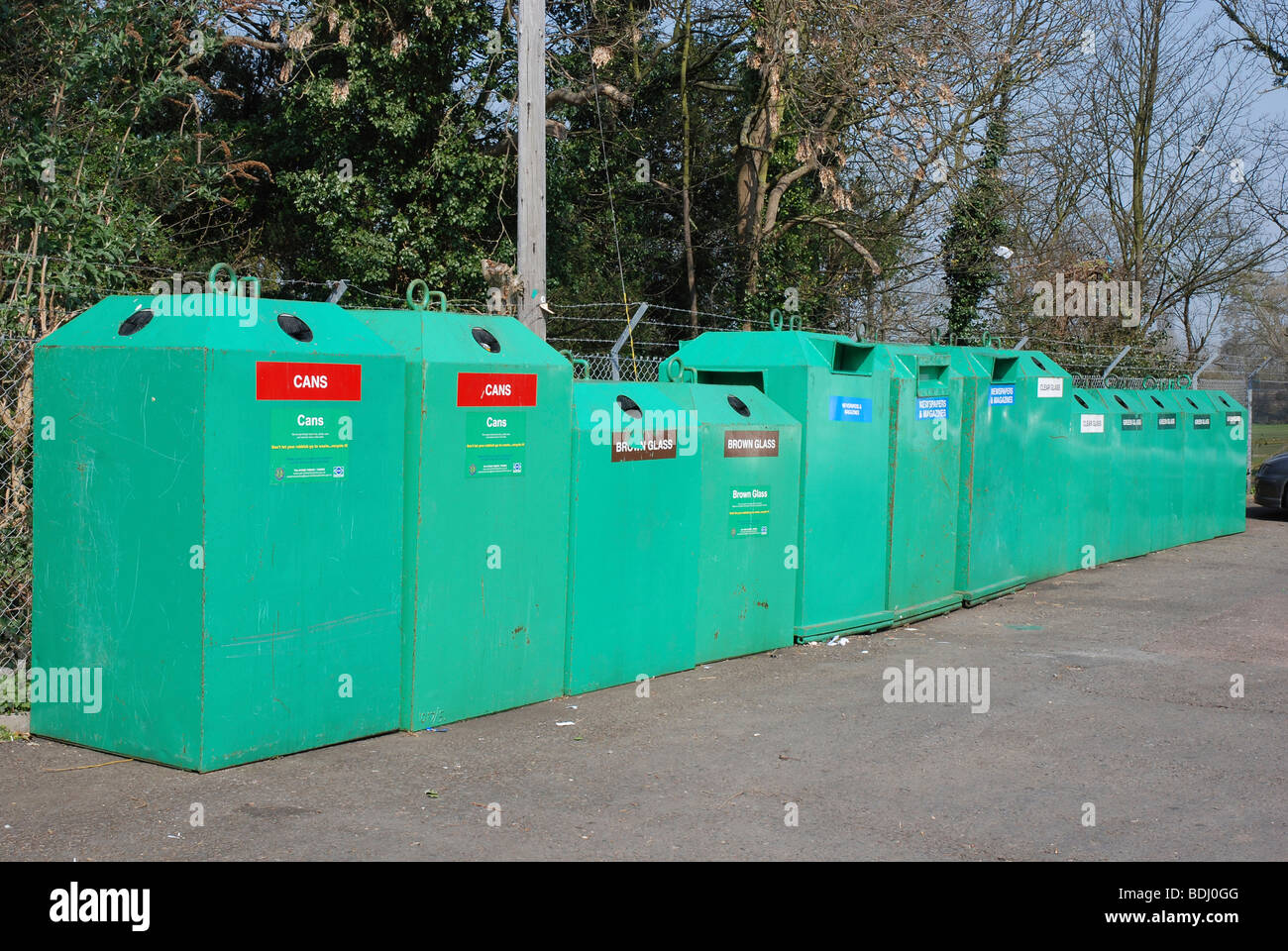 Bottle Banks at a  Recycling Centre, Northamptonshire, England. - Stock Image