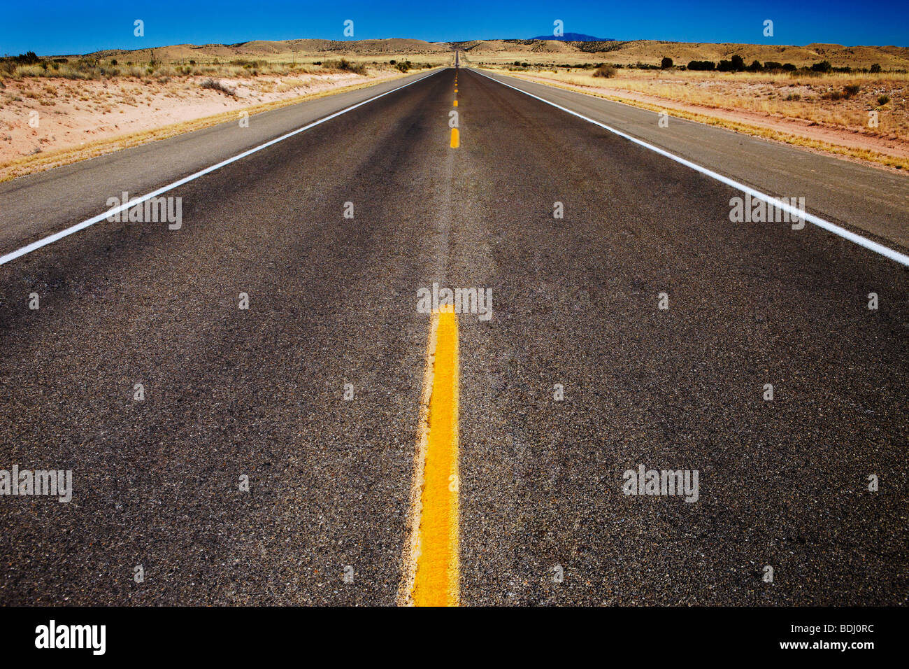 straight road running to a vanishing point against a blue sky - Stock Image