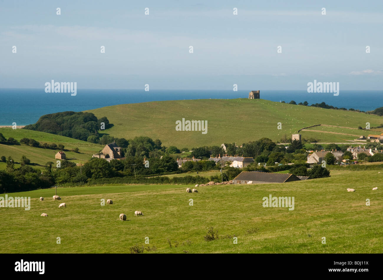 Beautiful countryside & coast of Dorset, England.  Village of  Abbotsbury  below where there is a Swannery. - Stock Image