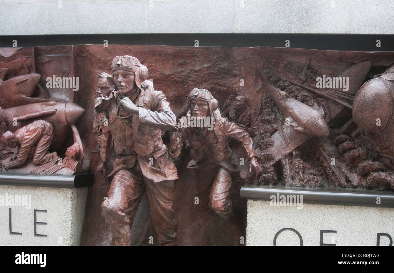 Part of the Battle of Britain Memorial sculpture by Paul Day on Victoria Embankment in London, UK - Stock Image