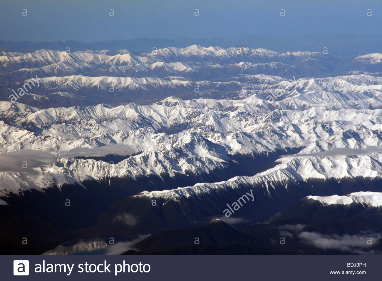 New Zealand Mountains Airplane View Queenstown Snow Stock